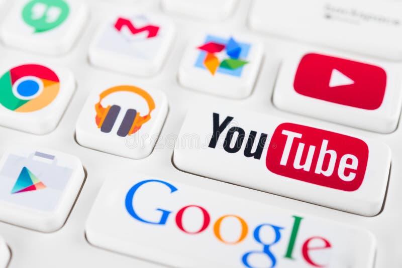Большинств популярные логотипы применений Google стоковое изображение