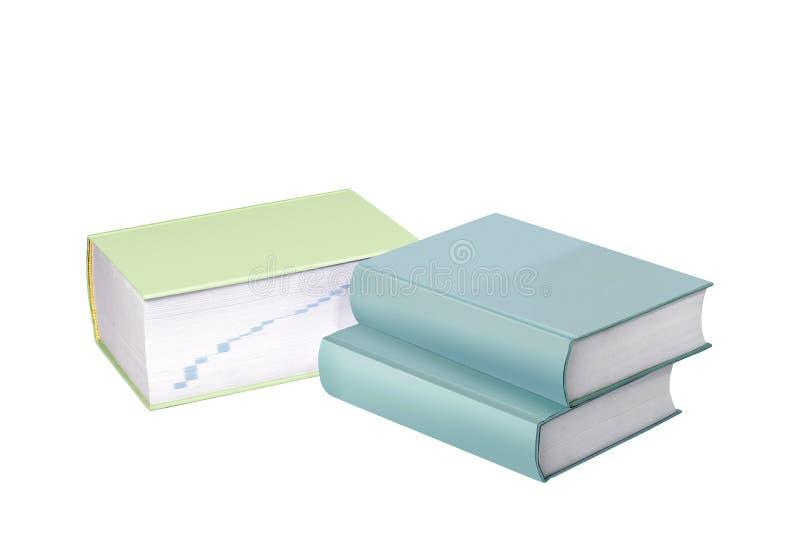 3 больших справочника изолированного на белизне стоковые фото
