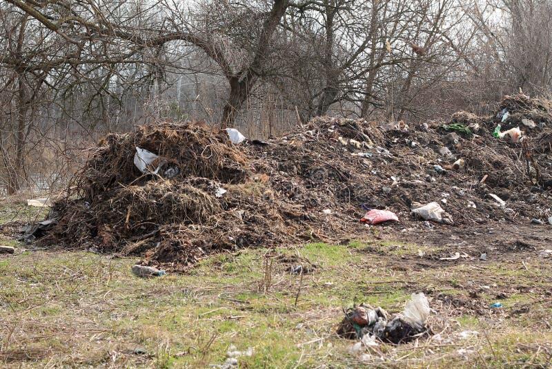 Большое место захоронения отходов среди деревьев стоковая фотография