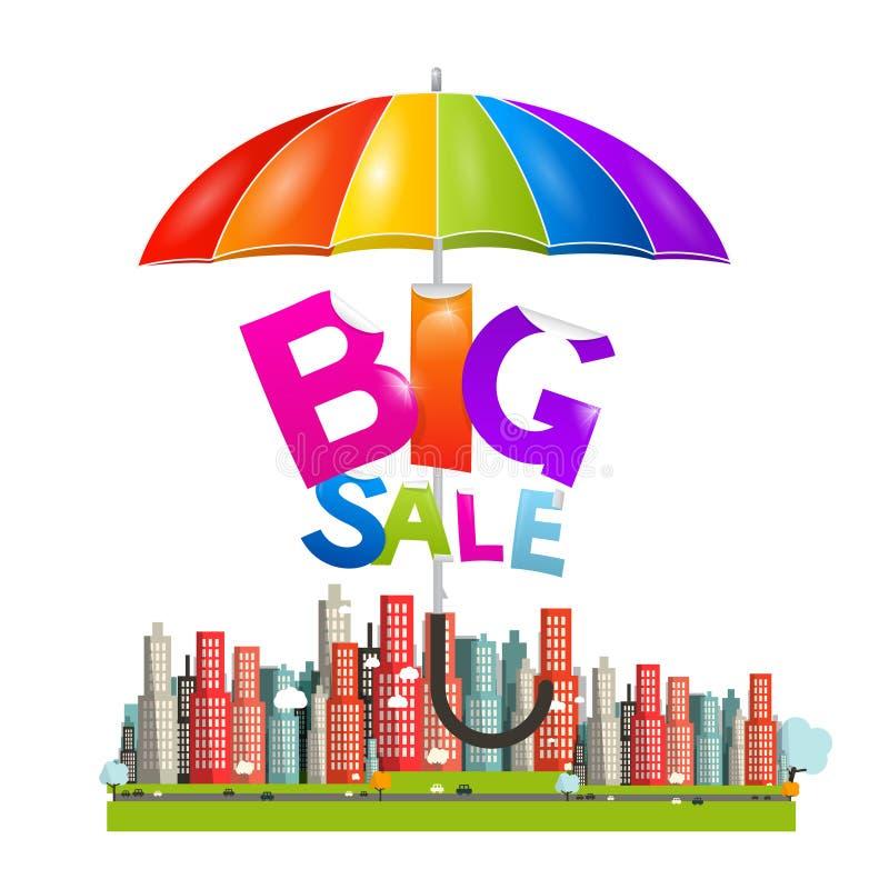 Большое название продажи с красочным парасолем - зонтиком иллюстрация вектора
