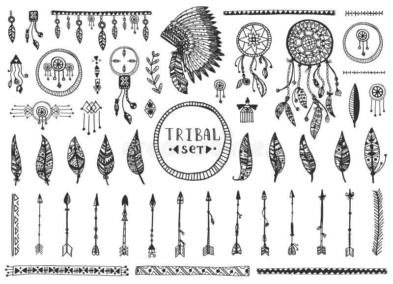 Большое племенное собрание элементов вектора иллюстрация штока