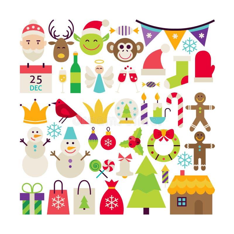 Большое плоское собрание вектора стиля с Рождеством Христовым объектов иллюстрация вектора