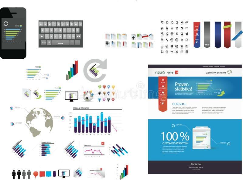 Большое собрание графиков сети бесплатная иллюстрация
