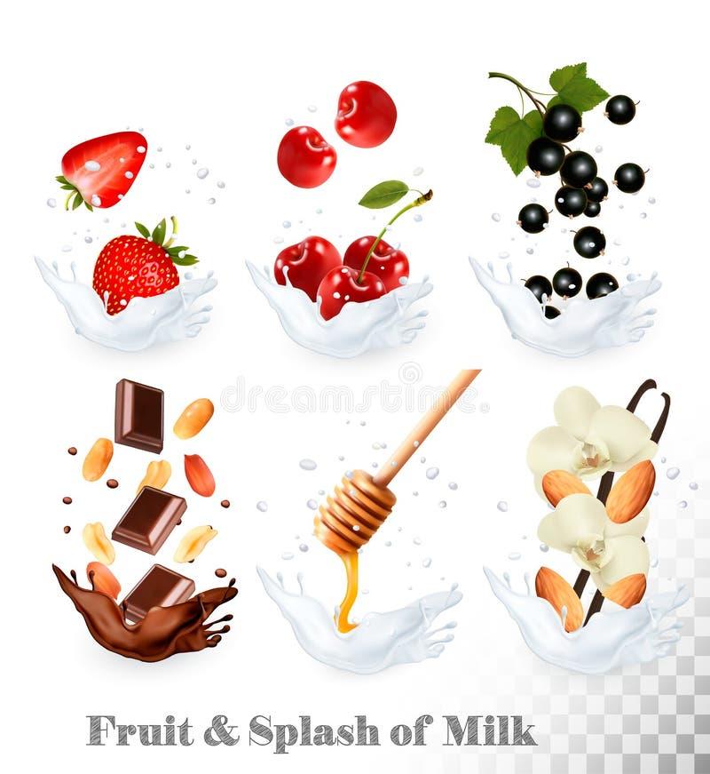 Большое собрание значков плодоовощ и ягоды в молоке брызгают иллюстрация штока