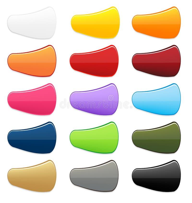 Большое собрание 15 красочных изолированных кнопок с светлой тенью иллюстрация вектора