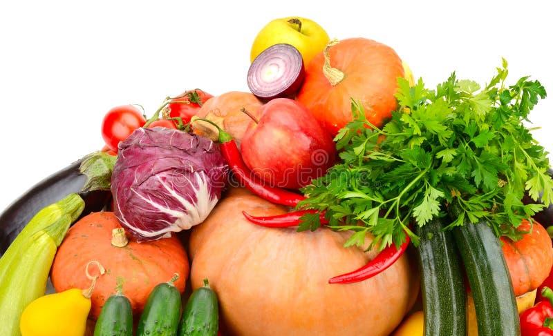 Большое собрание полезных овощей и плодоовощей изолированных на whi стоковые фотографии rf