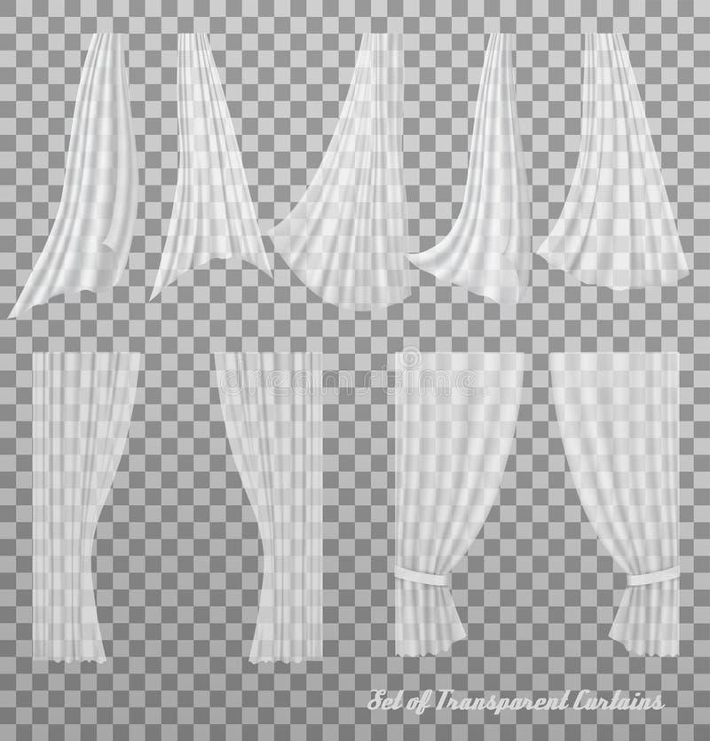 Большое собрание прозрачных занавесов иллюстрация вектора