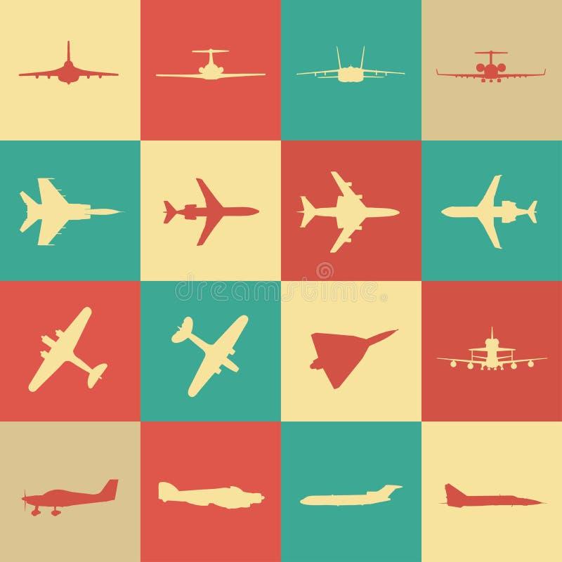 Большое собрание различных значков самолета бесплатная иллюстрация