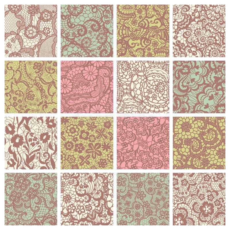 Большое собрание флористических кружевных картин. бесплатная иллюстрация