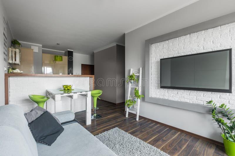 Большое ТВ в малой живущей комнате стоковая фотография rf
