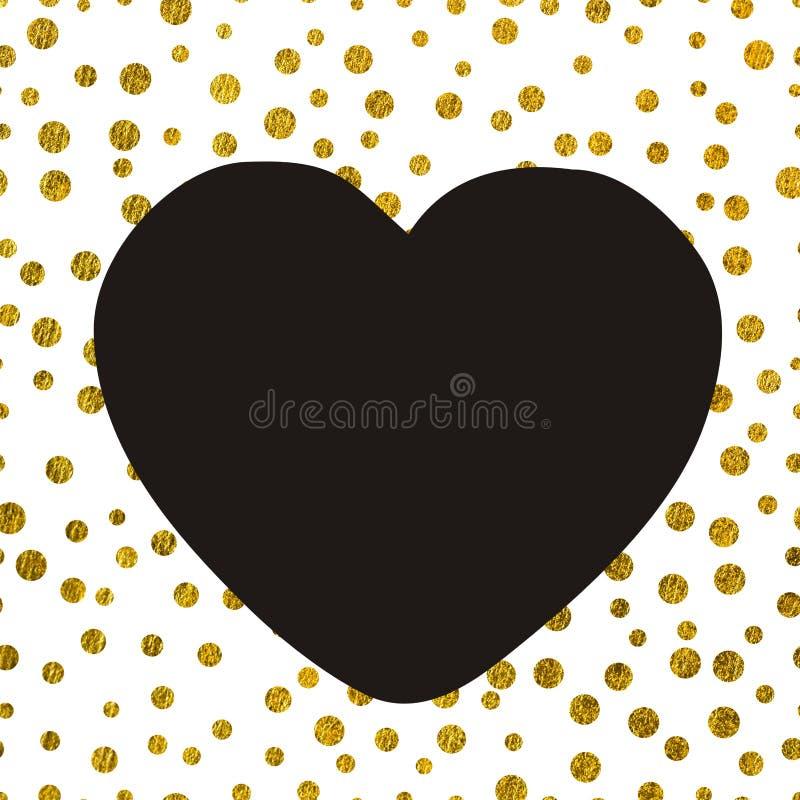 Большое черное сердце на предпосылке малого золота ставит точки иллюстрация вектора