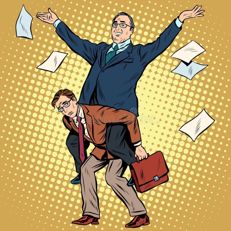 Большой босс и маленький человек иллюстрация штока