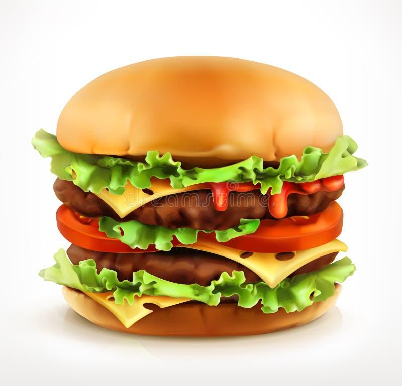 Большой бургер, значок вектора иллюстрация штока