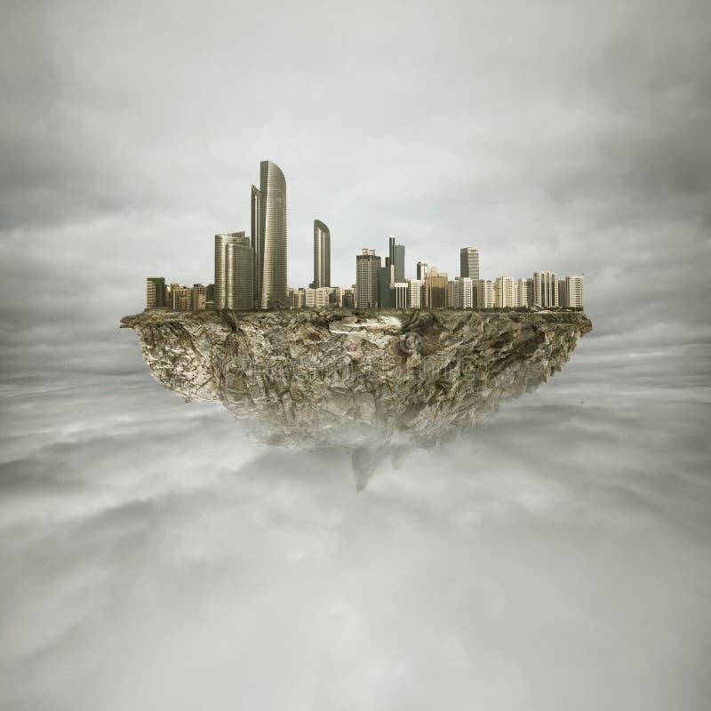 Большой город в небе стоковое изображение rf