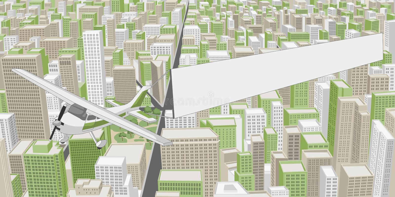 Большой город с зданиями бесплатная иллюстрация