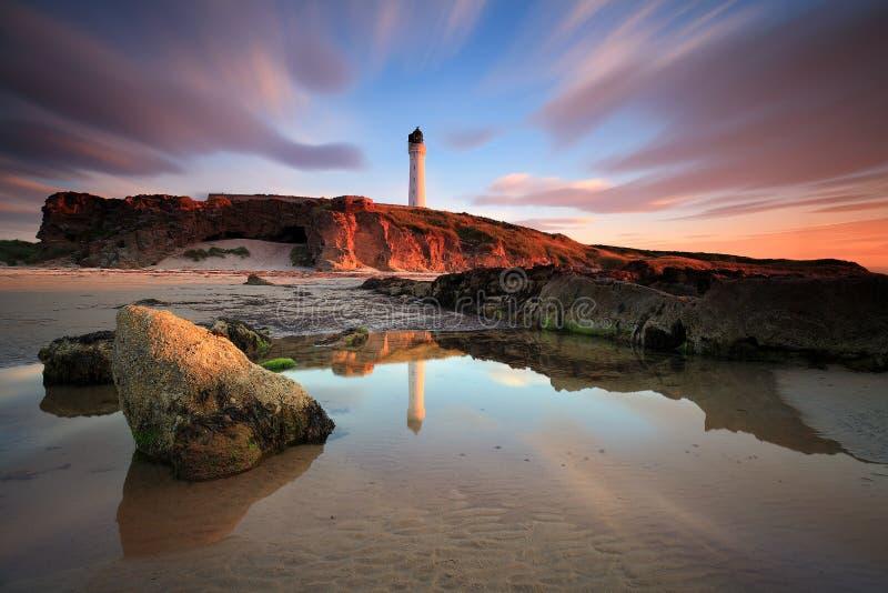 Большой заход солнца в Мор-свете Lossiemouth стоковая фотография rf