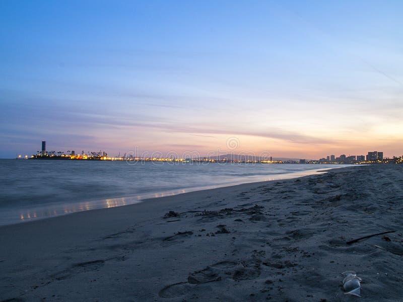 Большой заход солнца пляжа стоковое изображение rf