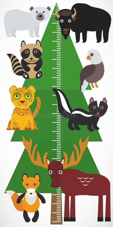 Большой зеленый спрус дерева, лиса лося скунса енота леопарда орла бизона полярного медведя на белой предпосылке Sticke стены мет иллюстрация вектора