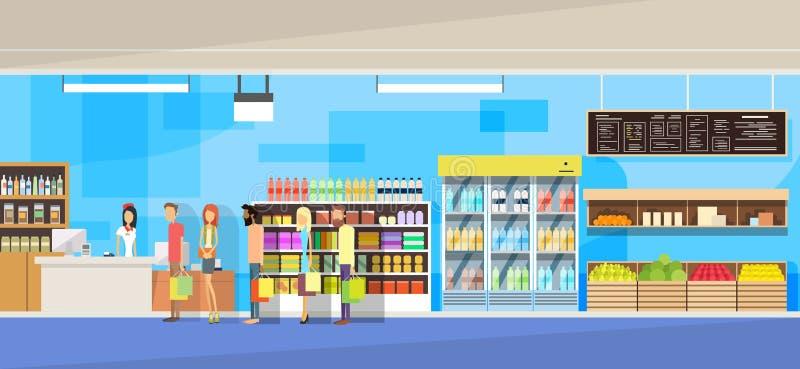 Большой интерьер магазина, продажи женщина, стойка клиентов людей в линии столе наличных денег бесплатная иллюстрация