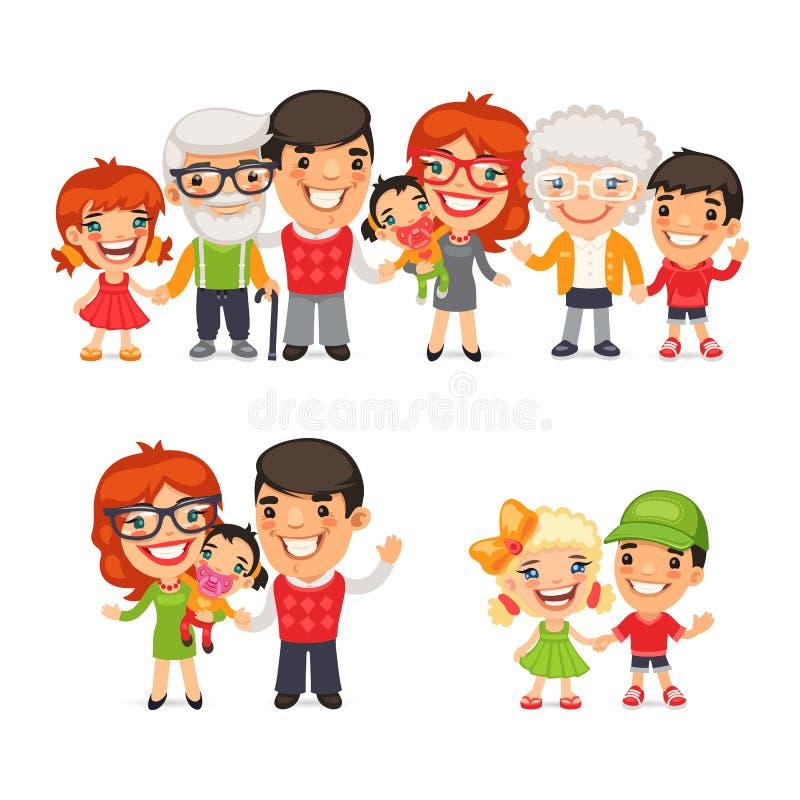 Большой и счастливый комплект семьи бесплатная иллюстрация