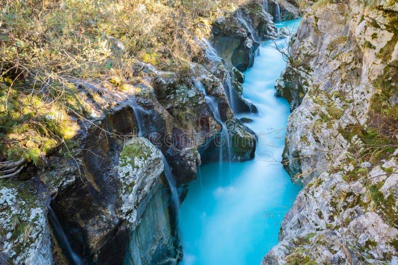Большой каньон реки Soca, Словении стоковые фотографии rf