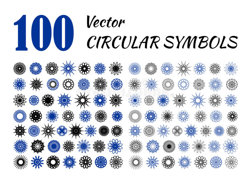 Большой комплект абстрактных цветков дизайна бесплатная иллюстрация