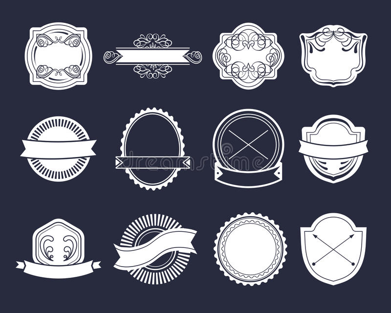 Большой комплект вектора винтажных ярлыков, элементов логотипа битника, лент, шаблона логотипа иллюстрация штока
