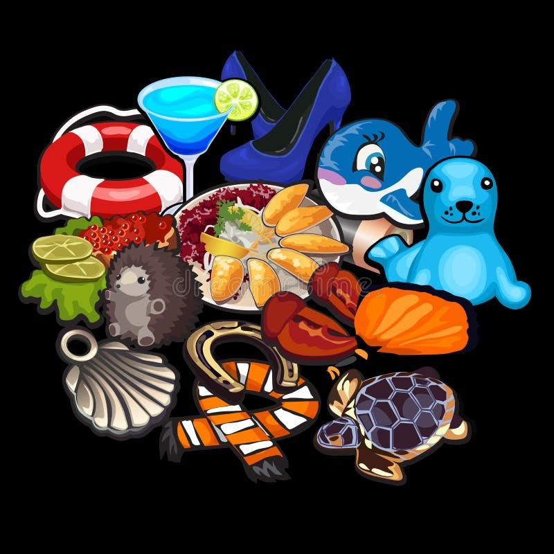 Большой комплект вещества от игрушек к одеждам бесплатная иллюстрация