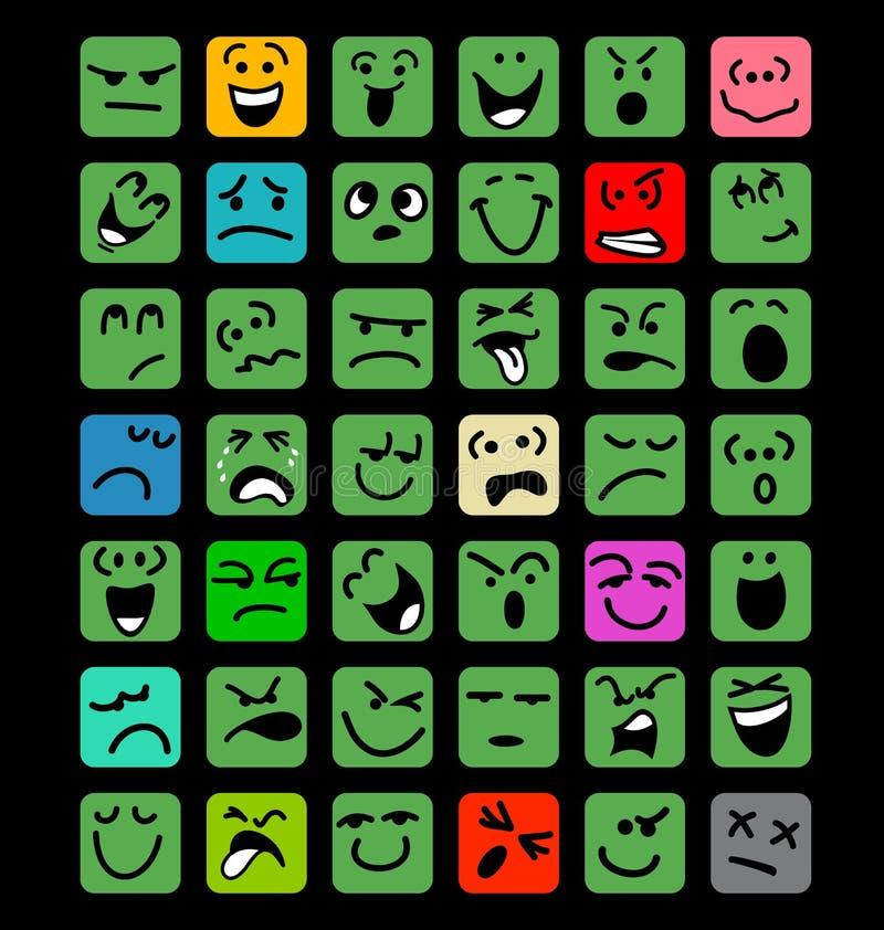 Большой комплект выражений лица шаржа бесплатная иллюстрация