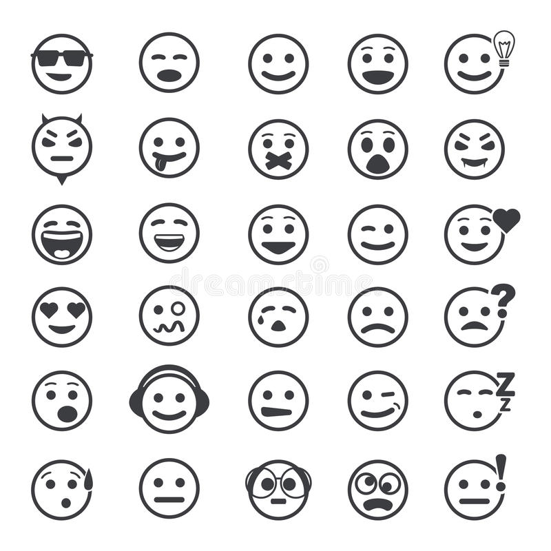 Большой комплект значков вектора с сторонами smiley стоковое изображение