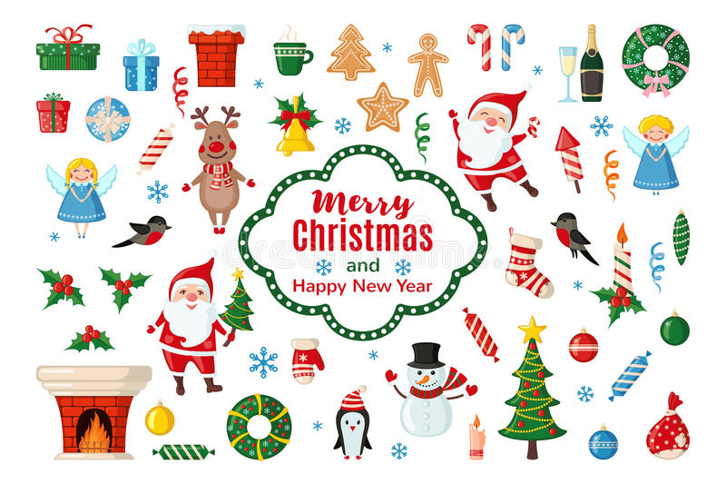 Большой комплект значков рождества в плоском стиле иллюстрация штока