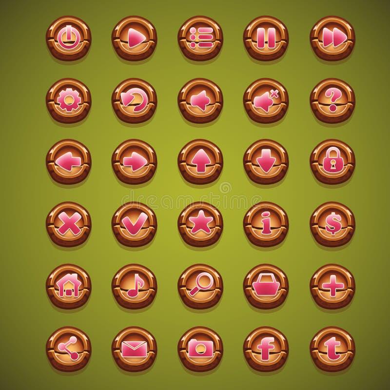 Большой комплект кнопок шаржа деревянных для пользовательского интерфейса бесплатная иллюстрация