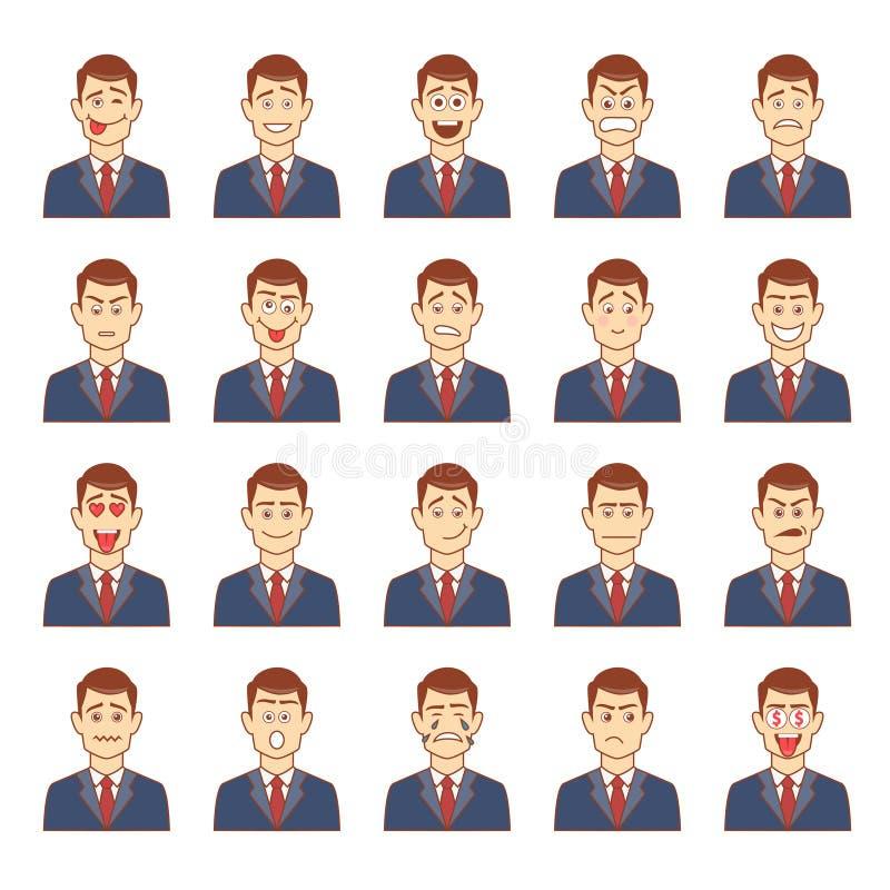 Большой комплект мужских эмоций иллюстрация вектора