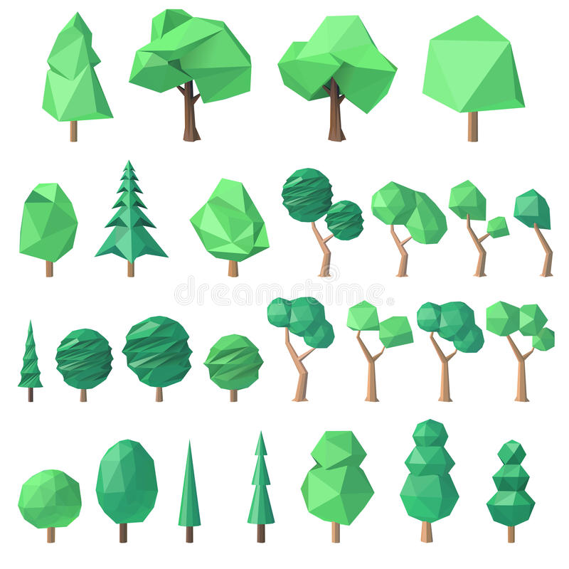 Большой комплект полигональных деревьев иллюстрация вектора