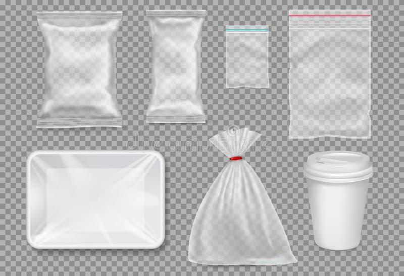 Большой комплект пластиковой упаковки - мешков, подноса, чашки иллюстрация вектора