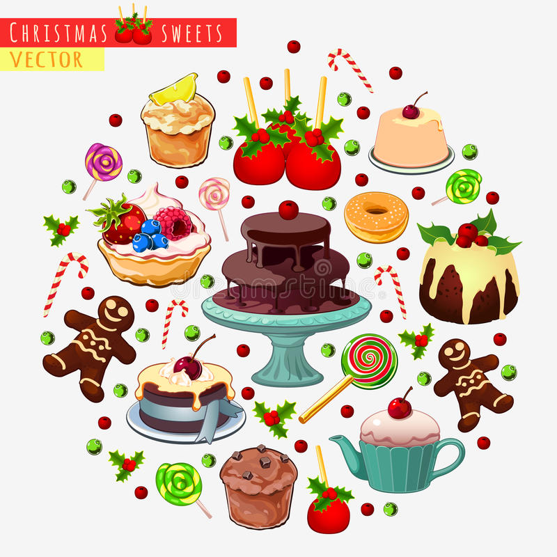 Большой комплект различных помадок для рождества бесплатная иллюстрация