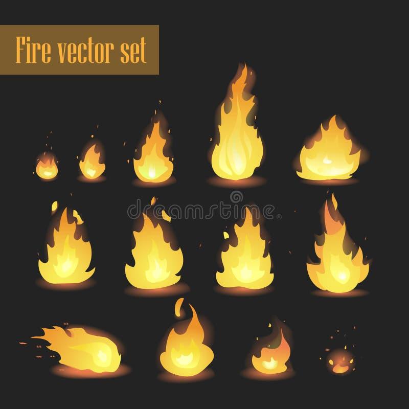 Большой комплект различных этапов огня - малый огонь с искрами, пылая яркий огонь вектора, умирая огонь, дым Видеоигра, передвижн бесплатная иллюстрация