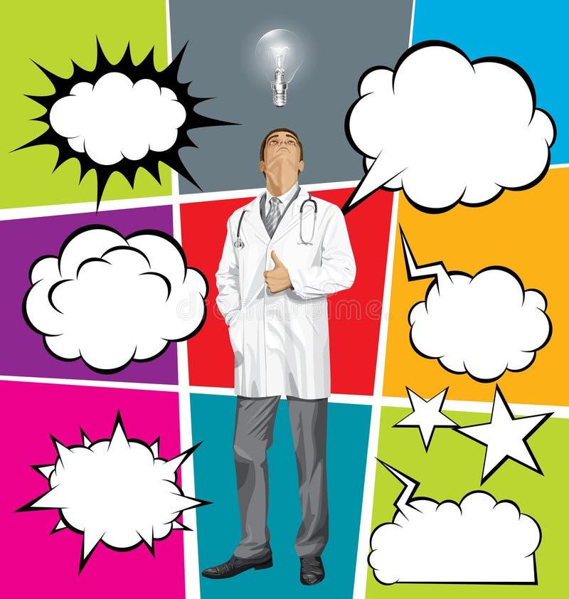 Большой комплект речи пузыря и доктора Человека Looking Вверх бесплатная иллюстрация