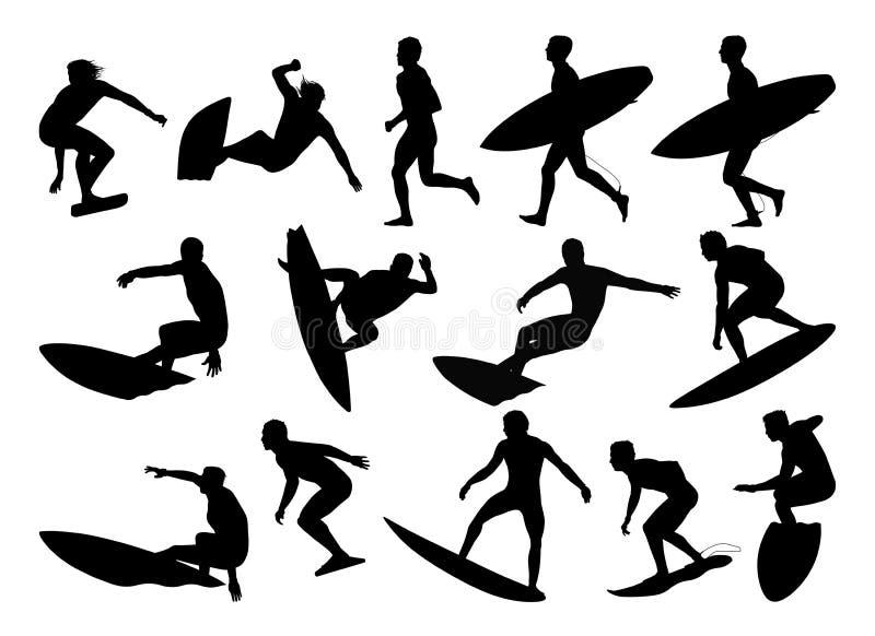 Большой комплект силуэтов серферов бесплатная иллюстрация