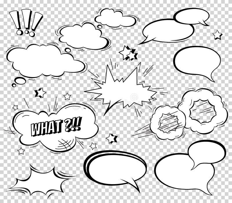 Большой комплект шаржа, шуточных пузырей речи, пустых облаков диалога в стиле искусства шипучки Иллюстрация вектора для книги ком бесплатная иллюстрация