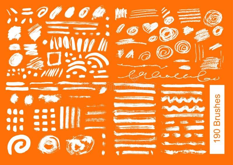Большой комплект 190 щеток вектора объектов бесплатная иллюстрация