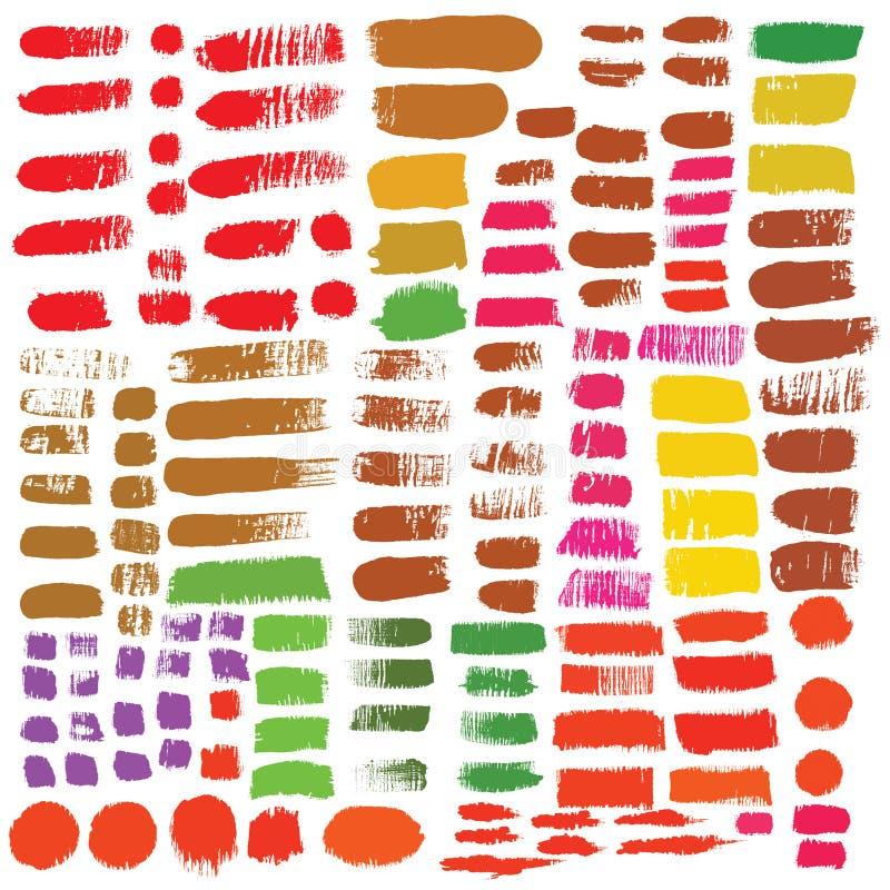 Большой комплект элементов дизайна чернил щеток Нарисованный вручную с watercol бесплатная иллюстрация