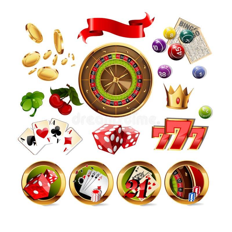 Большой комплект элементов казино играя в азартные игры бесплатная иллюстрация
