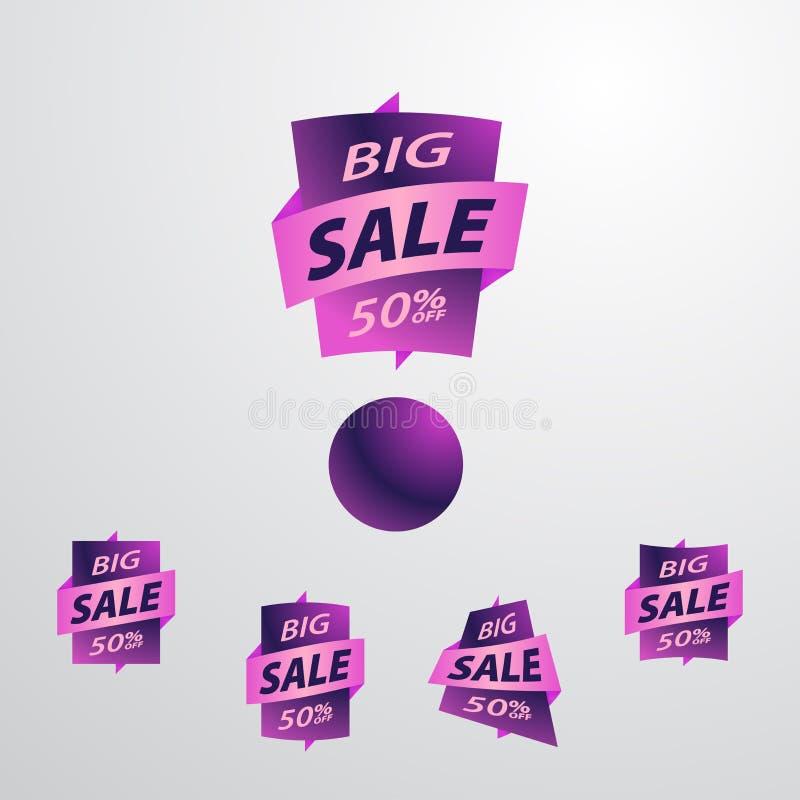 Большой комплект ярлыка продажи бесплатная иллюстрация