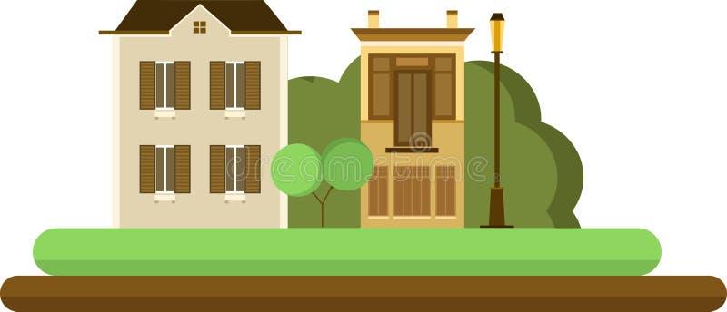 Большой конструированный городок бесплатная иллюстрация