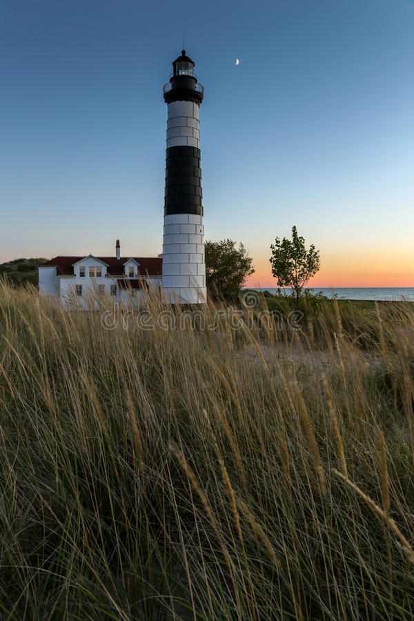 Большой маяк соболя - Ludington Мичиган стоковая фотография