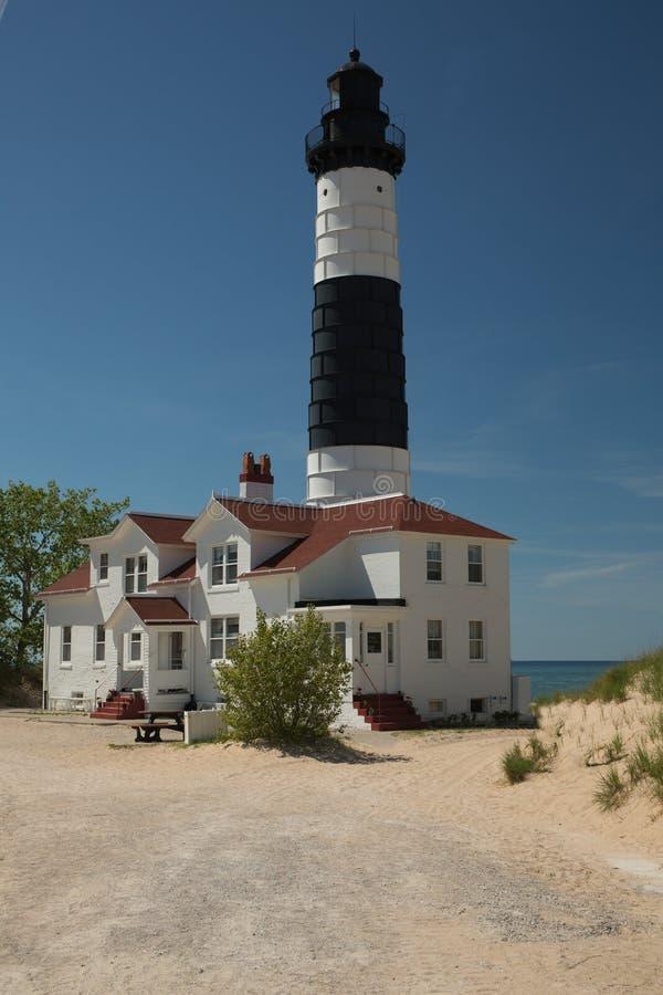 Большой маяк Lake Michigan пункта соболя стоковое фото rf