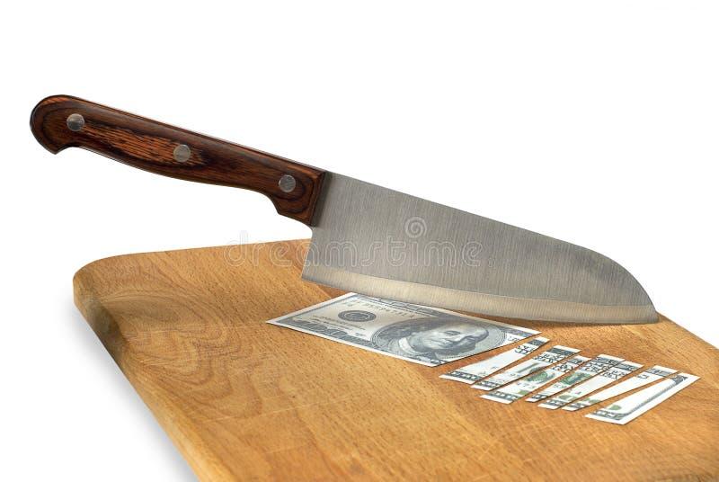 Нож кухни и отрезанный счет стоковые фотографии rf