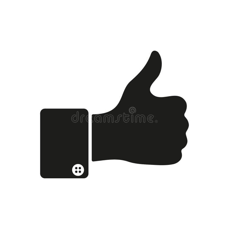 Большой палец руки вверх по значку как символ плоско иллюстрация штока