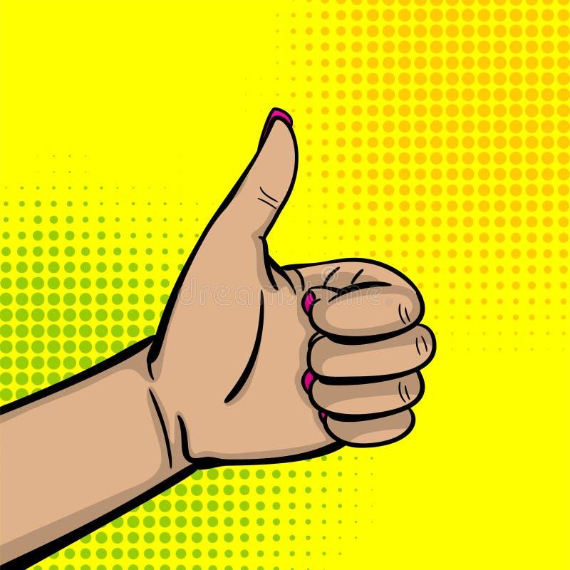 Большой палец руки выставки руки женщины искусства шипучки вверх по пальцу иллюстрация вектора